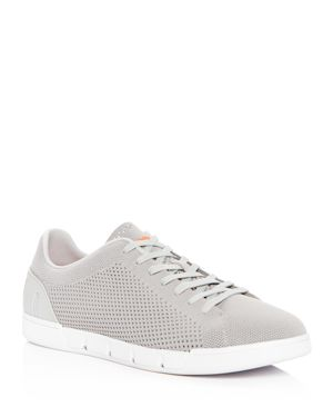 SWIMS Breeze Tennis Washable Knit Sneaker in Light Grey/ White Fabric