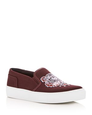 Women'S Main Tiger Embroidered Slip-On Sneakers, Bordeaux