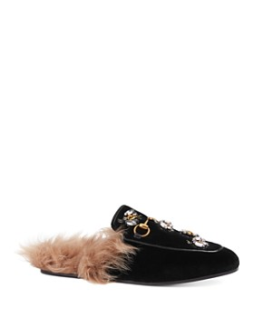 0d5721ce13b Gucci - Women s Princetown Embroidered Velvet   Lamb Fur Mules ...