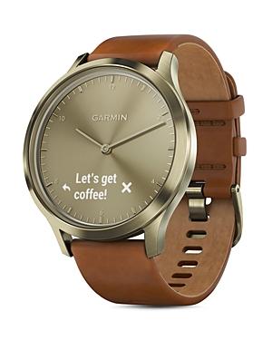 vivomove Hr Premium Brown Leather Strap Hybrid Smartwatch