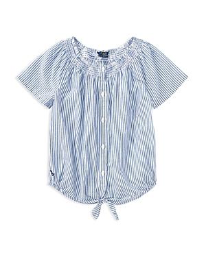 Polo Ralph Lauren Girls Cotton Striped TieFront Top  Big Kid