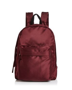 Elizabeth And James Satin Backpack in Bordeaux/Silver