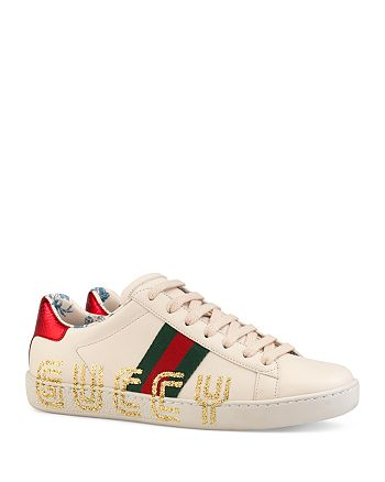 ed316845b Gucci Women's New Ace Leather Guccy Print Sneakers   Bloomingdale's