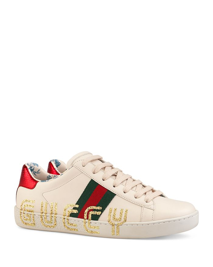 ff5b39943ca Gucci - Women s New Ace Leather Guccy Print Sneakers