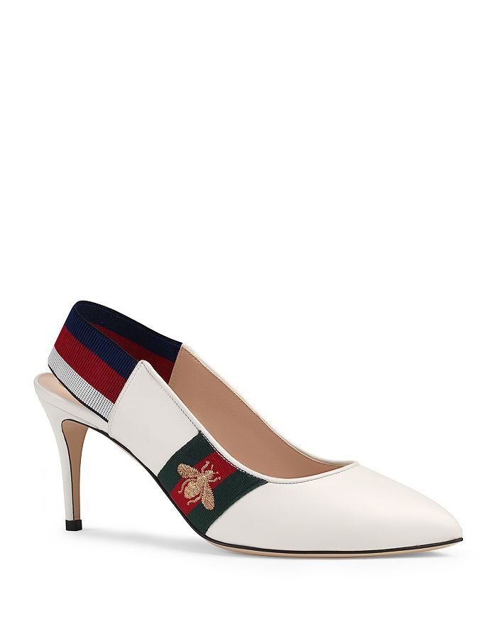 60a862522612 Gucci Women s Sylvie Leather Web Mid Heel Slingback Pumps ...
