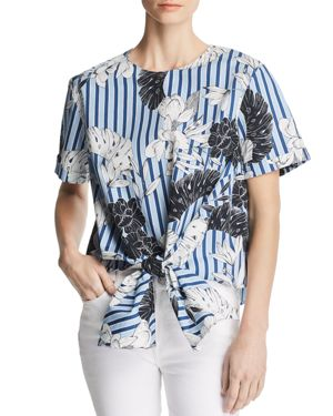 Gertie Floral Stripe Tie-Hem Top, Blue Tropical Stripe
