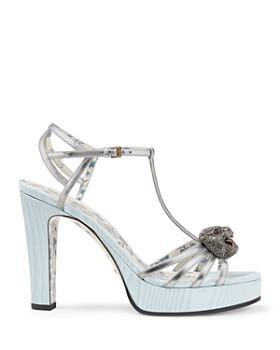 Gucci - Women's Elias Leather & Silk T-Strap Platform Sandals
