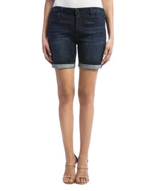 LIVERPOOL CORINE CUFFED DENIM SHORTS IN VINTAGE SUPER DARK