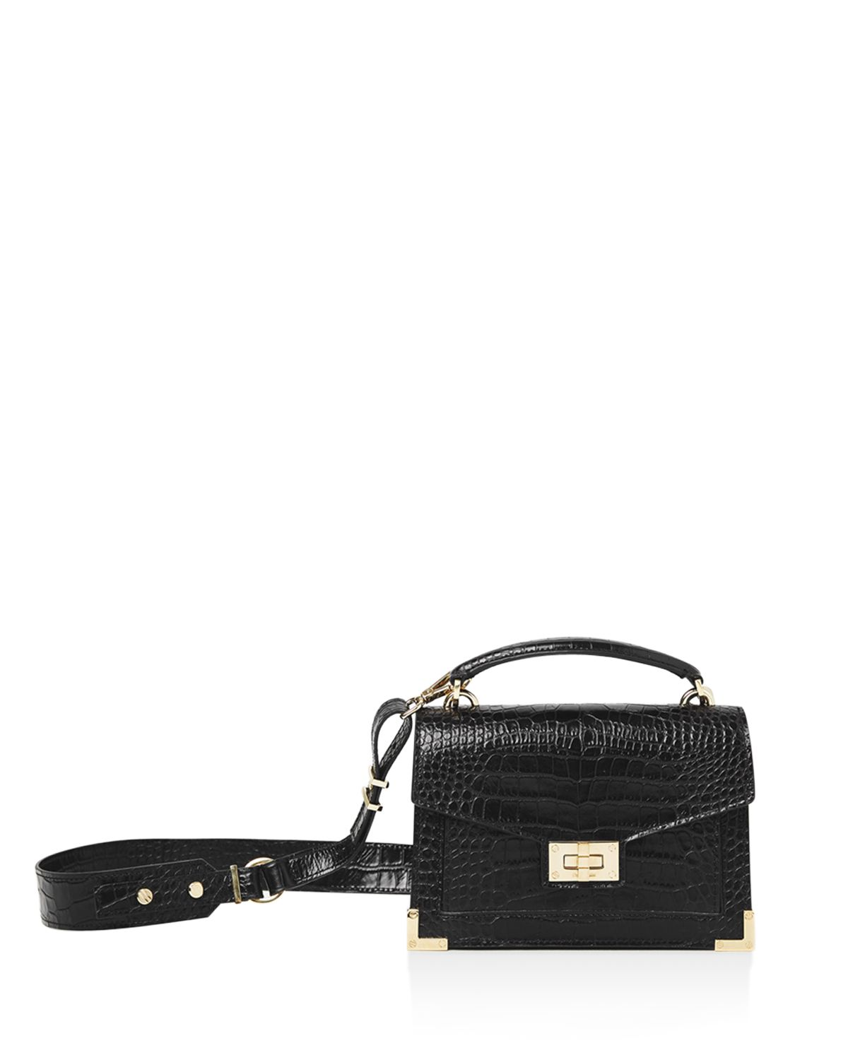 Emily Croc Embossed Leather Mini Crossbody by The Kooples