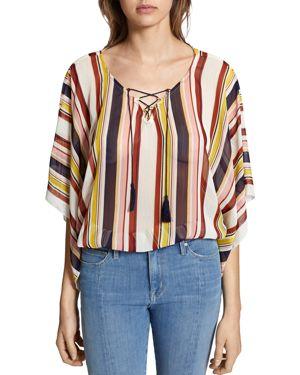 Lace-Up Striped Poncho Top, Horizon Stripe