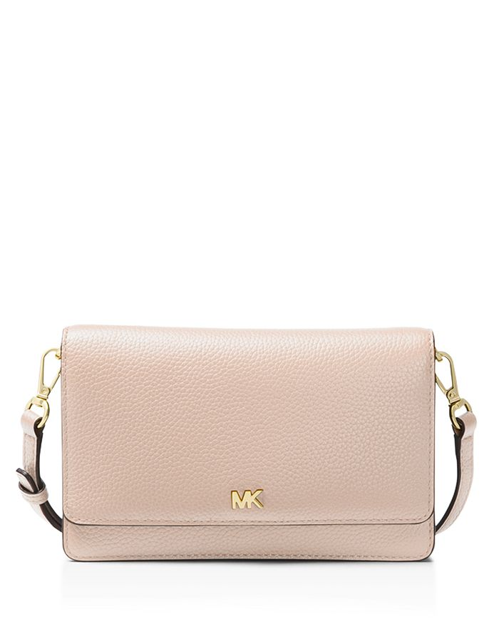 Michael Michael Kors Leather Phone Crossbody Wallet In Soft Pink