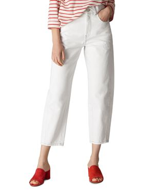 HIGH WAIST BARREL LEG JEANS IN WHITE from Bloomingdale's