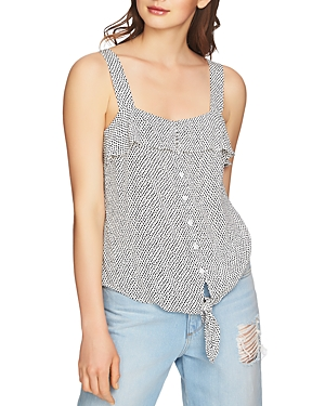 1.state Dot Print Tie-Front Top