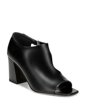 Women'S Eladine Leather Open Toe Block-Heel Booties, Black Leather