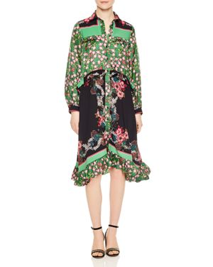Sandro Duel Floral Print & Color Blocked Dress 2888362