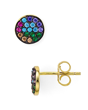 Multicolor Circle Stud Earrings in Gold Tone-Plated Sterling Silver
