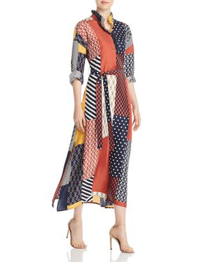 Bianca Patchwork Printed Silk-Twill Midi Dress, Geometric