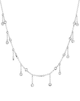 "AQUA - Droplet Necklace in Platinum-Plated Sterling Silver or 18K Rose Gold-Plated Sterling Silver, 14"" - 100% Exclusive"