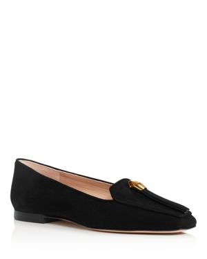 Women'S Slipknot Suede Apron Toe Loafers, Black Suede