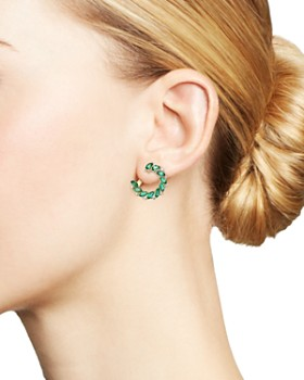 Bloomingdale's - Emerald Marquis & Diamond Front-to-Back Earrings in 18K Yellow Gold - 100% Exclusive