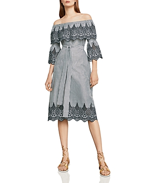 Bcbgmaxazria Eyelet-Trim Off-The-Shoulder Dress