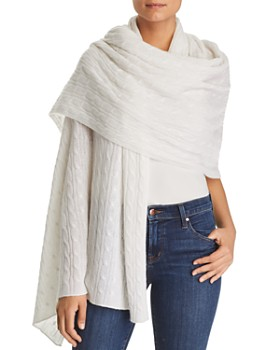 C by Bloomingdale's - Cable-Knit Cashmere Travel Wrap - 100% Exclusive