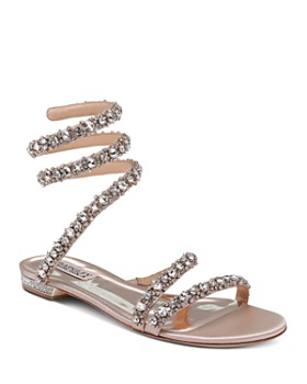 5f6173a13eef Badgley Mischka - Women s Paz Embellished Satin Ankle Wrap Flat Sandals ...