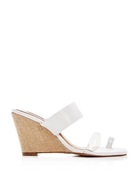 JAGGAR - Women's Wedged Leather Wedge Slide Sandals