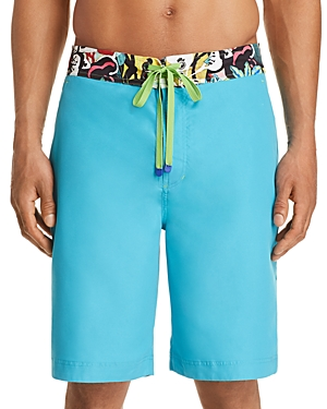 aa04eb11a4 Robert Graham Dos Rios Graphic-Trim Swim Trunks With Wet/Dry Color-Change