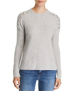 C by Bloomingdale's - Lace-Up Rib-Knit Cashmere Sweater - 100% Exclusive