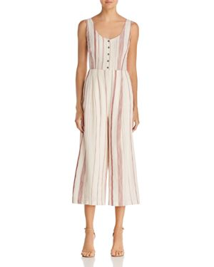 LOST AND WANDER LOST + WANDER MARIANA STRIPED CROPPED WIDE-LEG JUMPSUIT