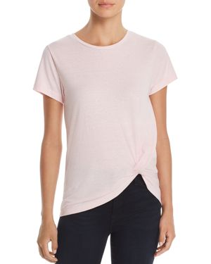 ALISON ANDREWS Twist-Front Tee in Blushing Bride Heather