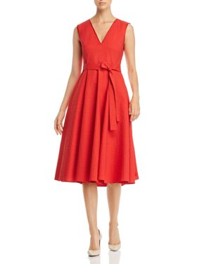TEXTURED BELTED A-LINE MIDI DRESS