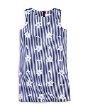 Vineyard Vines Girls Embroidered Star  Whale Shift Dress  Little Kid Big Kid