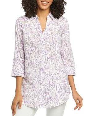 FOXCROFT FAITH FLORAL JACQUARD TUNIC SHIRT