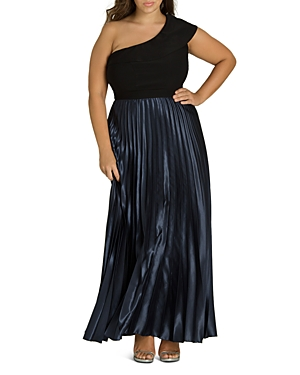 City Chic Plus Rosa One-Shoulder Pleated Maxi Dress
