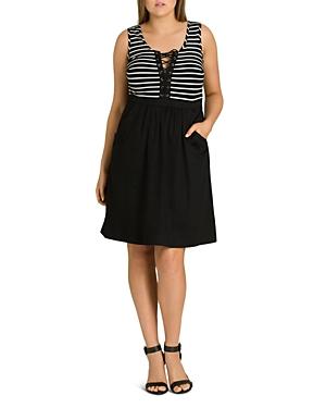 City Chic Plus Ahoy Lace-Up Dress