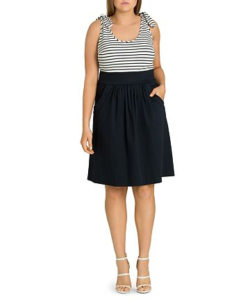 City Chic Plus - Ahoy Knot-Trimmed Fit-and-Flare Dress