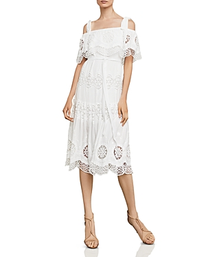 Bcbgmaxazria Cold-Shoulder Eyelet Midi Dress