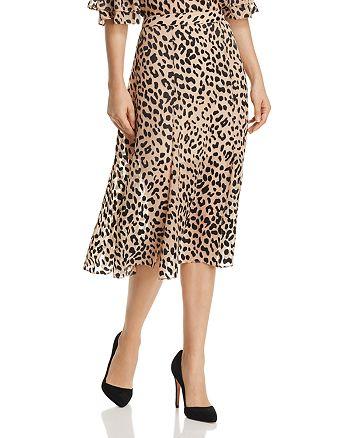Alice and Olivia - Athena Leopard Burnout Midi Skirt