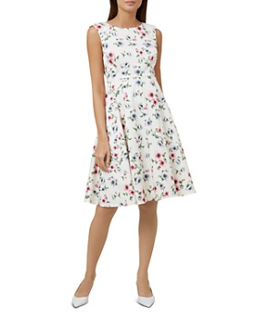 HOBBS LONDON - Nova Floral Print Fit-and-Flare Dress