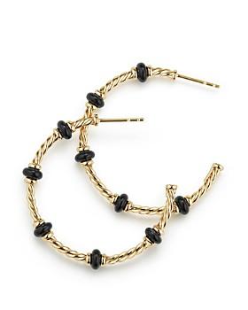 David Yurman - Rio Rondelle Large Hoop Earrings with Black Onyx in 18K Gold