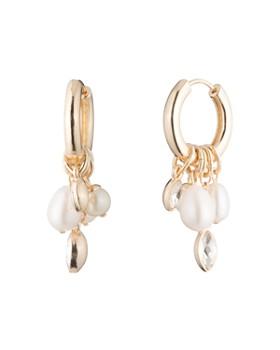 Carolee - Hoop & Cultured Freshwater Pearl Cluster Drop Earrings