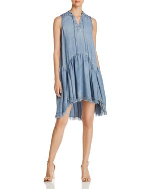 CATHERINE CATHERINE MALANDRINO Tie-Neck High-Low Chambray Dress in Blue