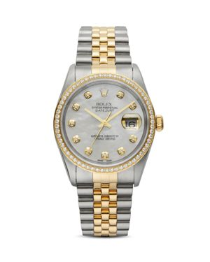 PRE-OWNED ROLEX Pre-Owned Rolex Stainless Steel & 18K Yellow Gold Two-Tone Datejust Watch With Mother-Of-Pearl Dial  in White/Multi
