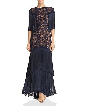 Vintage 1920s Dresses – Where to Buy Tadashi Shoji Embroidered Fringe Gown AUD 438.03 AT vintagedancer.com