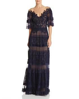 Tadashi Shoji - Pleated Illusion Gown