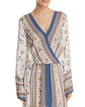 Lost + Wander Tulum Printed Crossover Top, Ivory Multi
