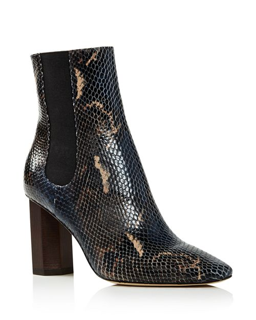 Donald Pliner - Women's Laila Round Toe Snake-Embossed Leather Booties