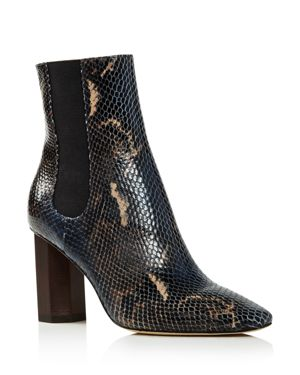 Women'S Laila Round Toe Snake-Embossed Leather Booties, Navy Multi